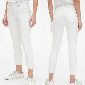 Gap White True Skinny Raw Hem Skinny Denim Jeans
